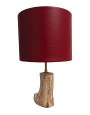 Lampe en bois abat jour cuir rouge