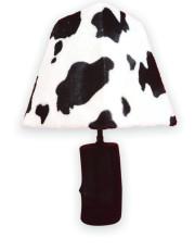 lampe en bois abat jour vache