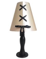 lampe bois abat jour lacets couleur champagne