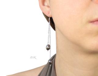 BO dbl perles o douce noires pendantes