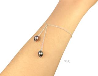Bracelet dbl perles noires portees 2