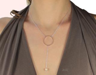 Collier argent cercler perle ivoire porte