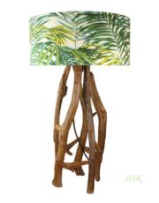 lampe en bois abat jour feuillage