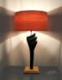 Luminaire design et unique bois et ardoise allumee