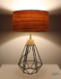 Lampe design abat-jour feuille de bois de chêne