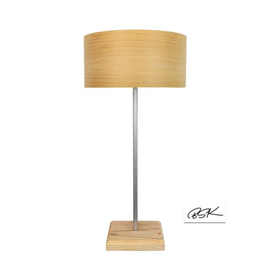 Lampe à poser en bois design tendance et épurée abat-jour en feuille de bois
