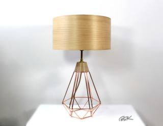 lampe bois et metal moderne et design Diamant cuivre