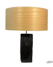 Lampe à poser moderne et tendance pied en ardoise et abat-jour en feuille de bois