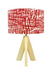 Lampe bois abat-jour rouge graphique