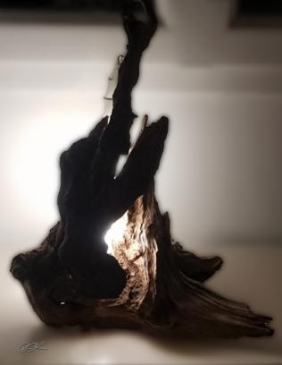 Lampe en bois à poser unique